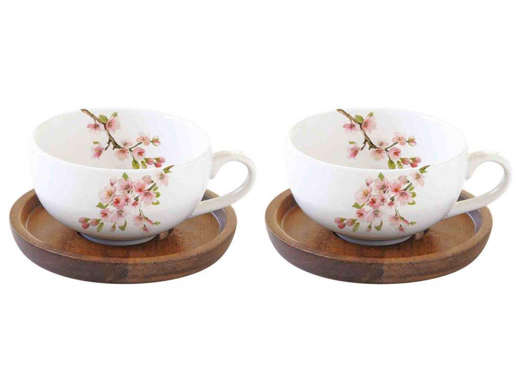 Sada porcelánových šálků a podšálků na espresso Sakura v dárkové krabičce
