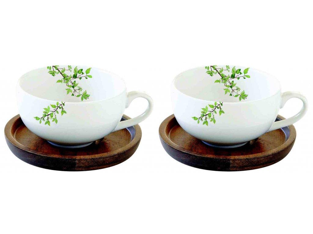 Sada porcelánových šálků a podšálků Natura na espresso v dárkové krabičce