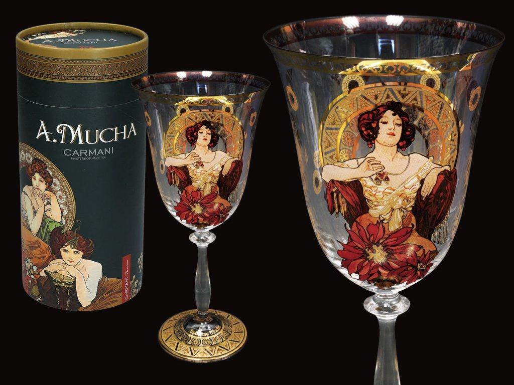 Carmani - Sklenice na víno  A. Mucha Drahokamy, Ruby v dárkovém balení - 350 ml