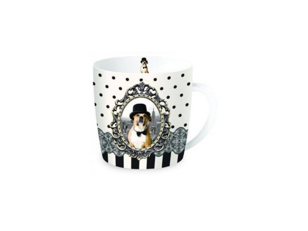 Porcelánový hrnek Pes v klobouku v dárkové plechové dóze