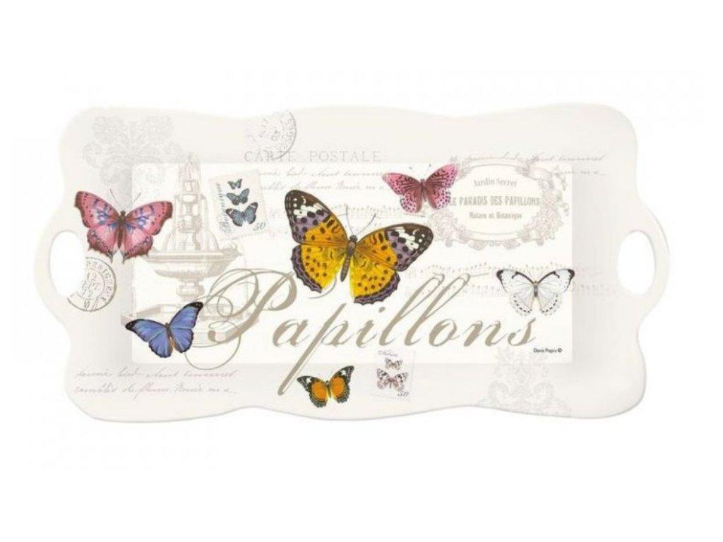 Melaminový tác s úchyty NOSTALGIE s motýly