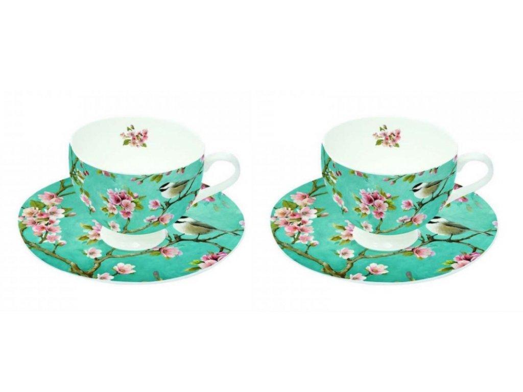 Porcelánová sada dvou šálků s podšálky na espresso ROMANTIC s ptáčky v dárkové krabičce