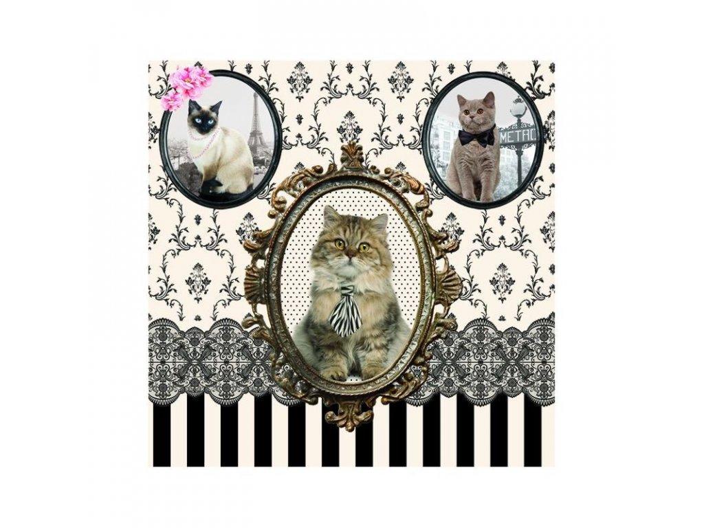 Dezertní třívrstvé ubrousky Kočky baroko