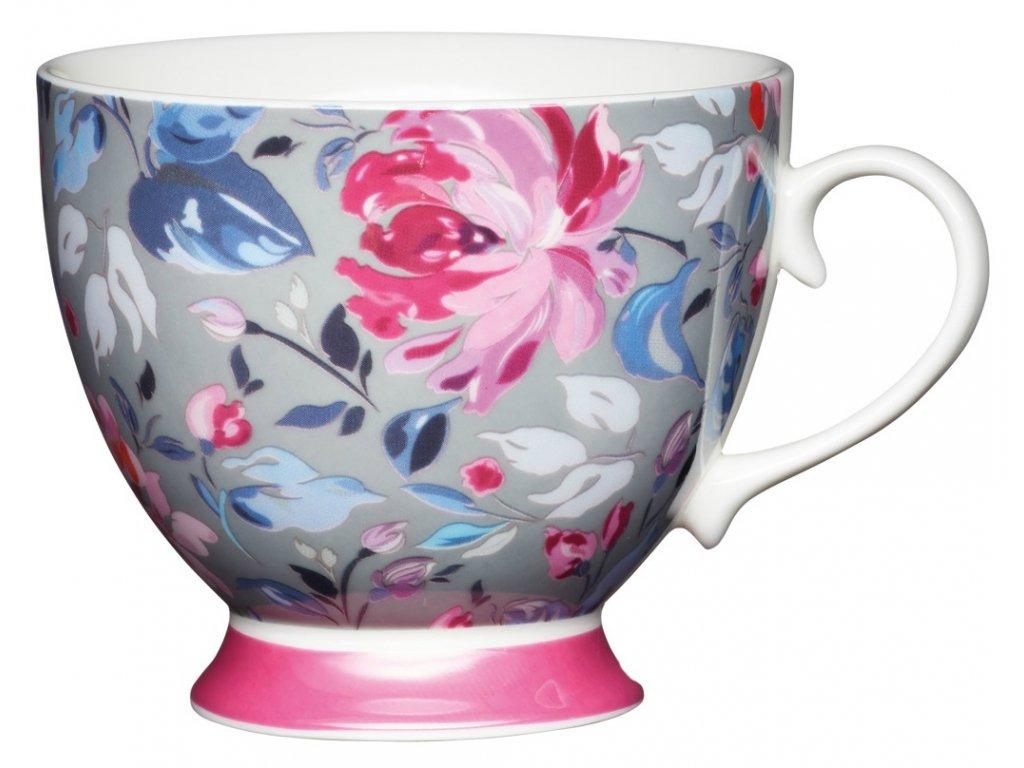Kitchen Craft - Porcelánový hrníček Grey Floral - 400 ml