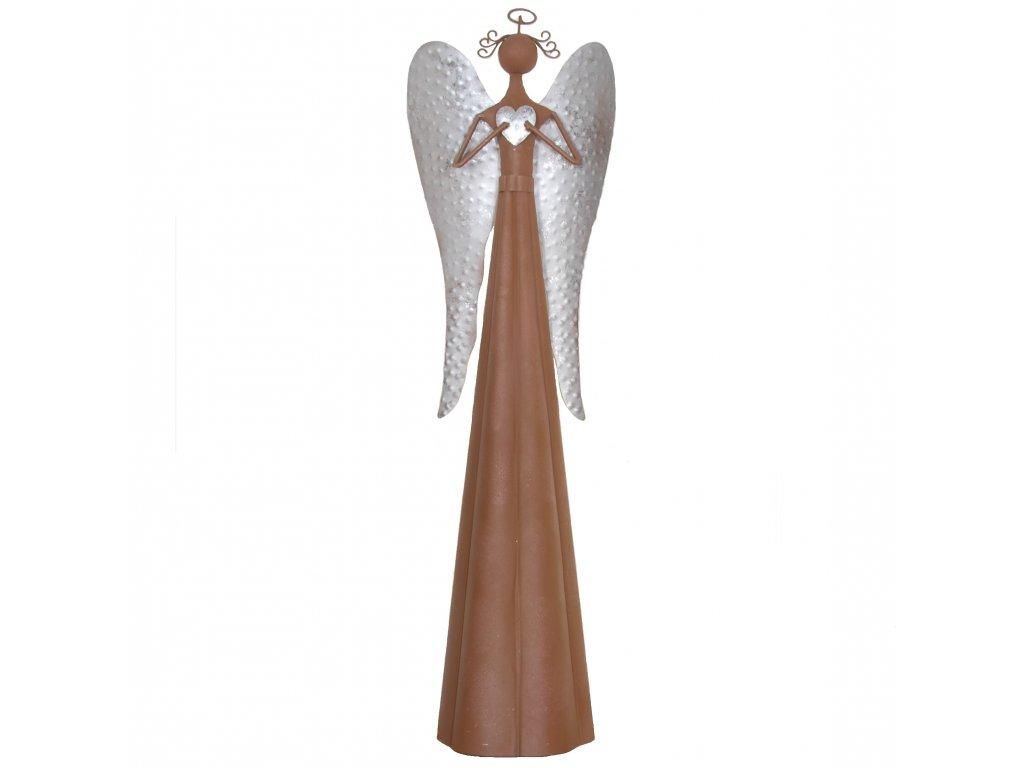 Kovový anděl se stříbrnými křídly velký /19,5*17*98,5 cm/