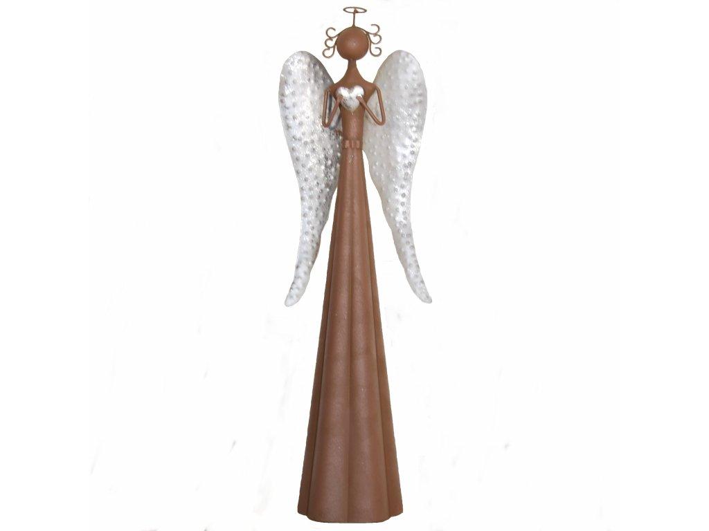 Kovový anděl se stříbrnými křídly střední /17*15*68,5 cm/