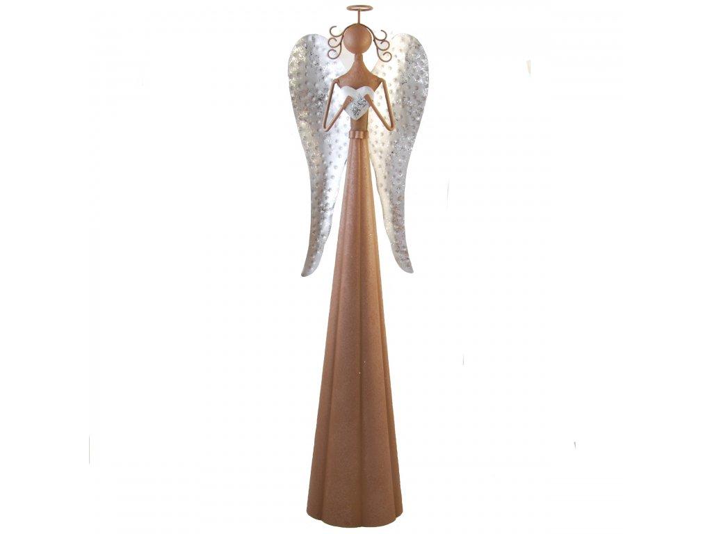 Kovový anděl se stříbrnými křídly malý /13*11,5*55,5 cm/
