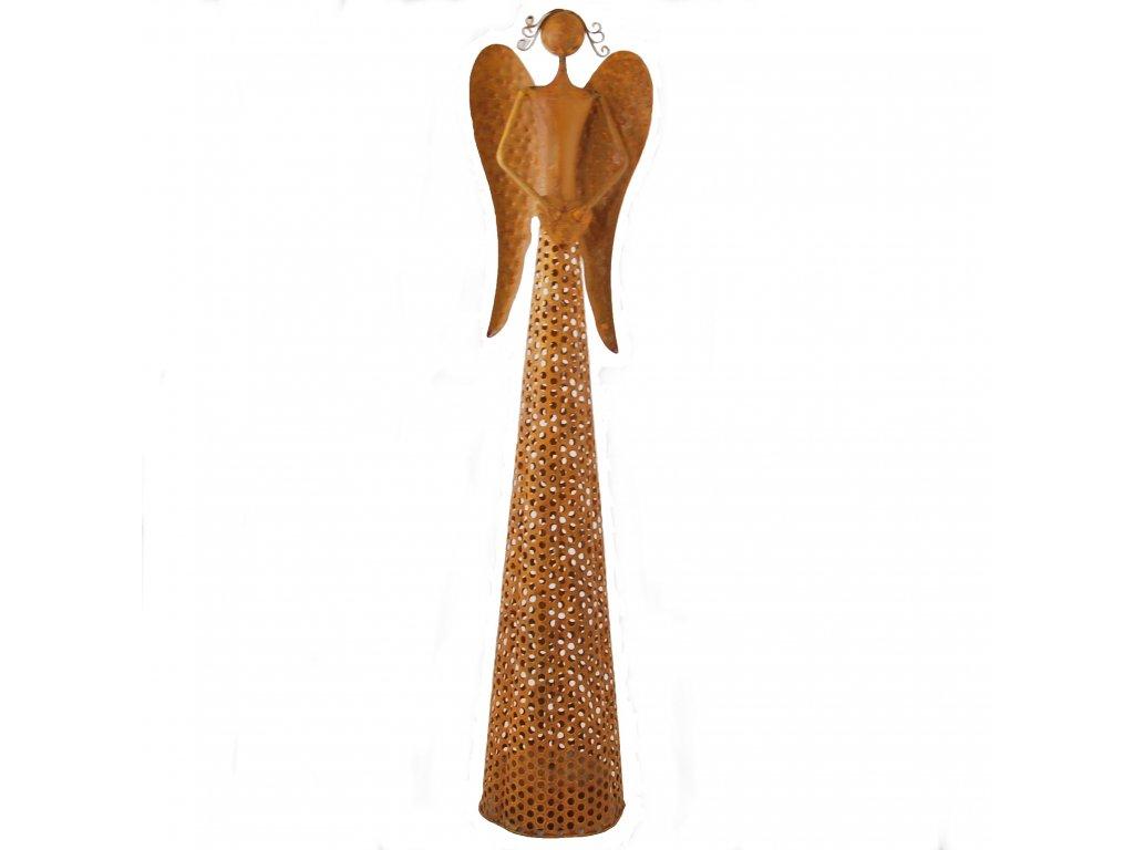 Rezavý kovový anděl se světýlky velký /13*10,5*54,5 cm/