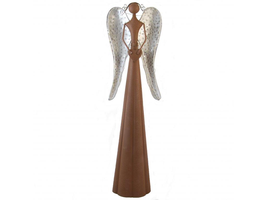 Hnědý kovový anděl se světýlky malý /16*10,5*53,5 cm/