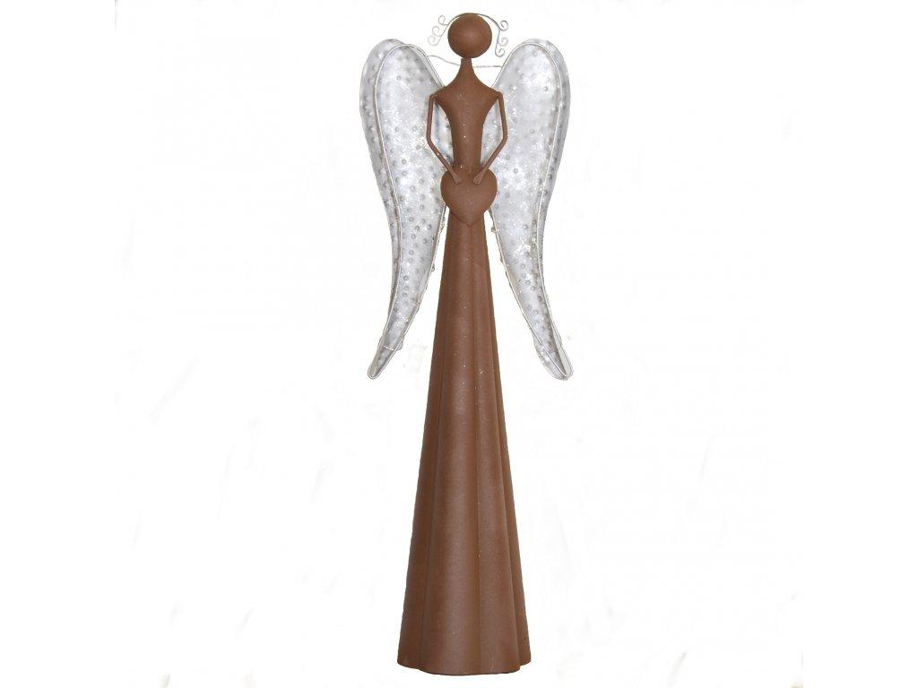 Hnědý kovový anděl se světýlky velký /19*15*66,5 cm/
