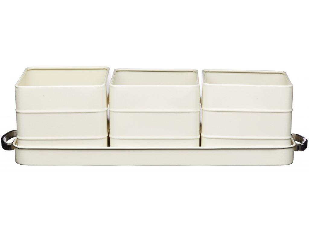Kitchen Craft - Plechové květináče na bylinky Living Nostalgia /40*12*10,5 cm/