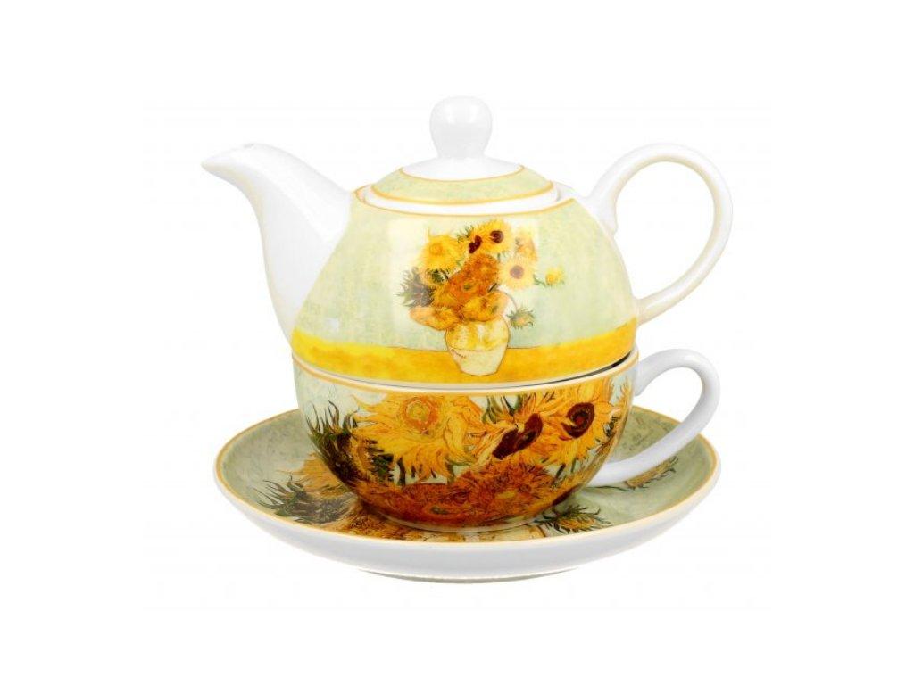 Porcelánový šálek s konvičkou a podšálkem V. van Gogh SLUNEČNICE v dárkové krabičce 350 ml, 310 ml