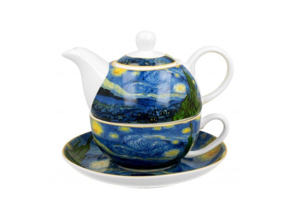 Porcelánový šálek s konvičkou a podšálkem V. van Gogh STARRY NIGHT v dárkové krabičce 350 ml, 310 ml