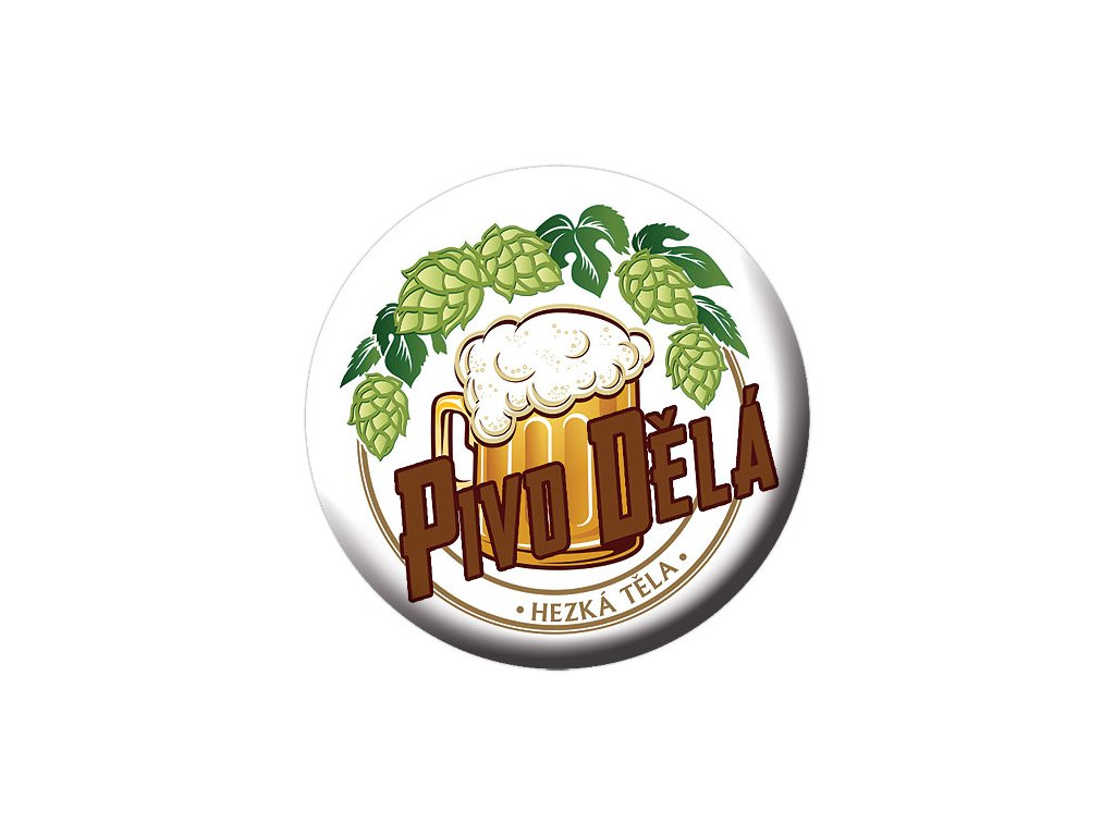 Bohemia Gifts Button - placka s otvírákem - pivo dělá hezká těla
