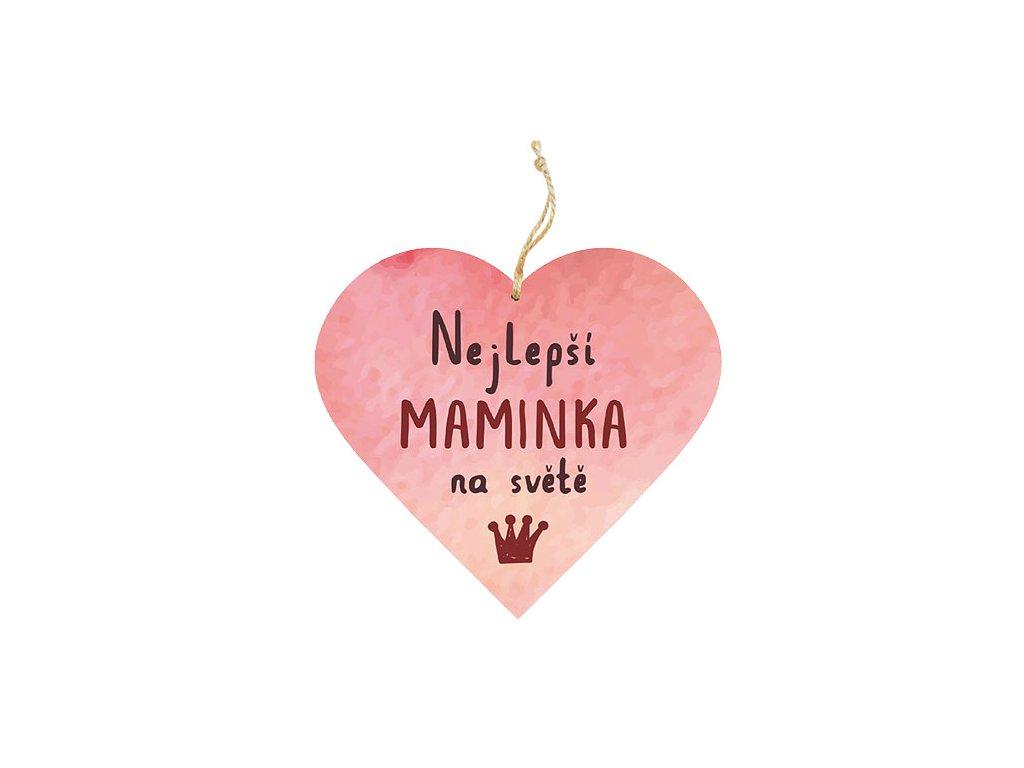 Bohemia Gifts Dekorační dřevěné srdce 13 cm pro maminku