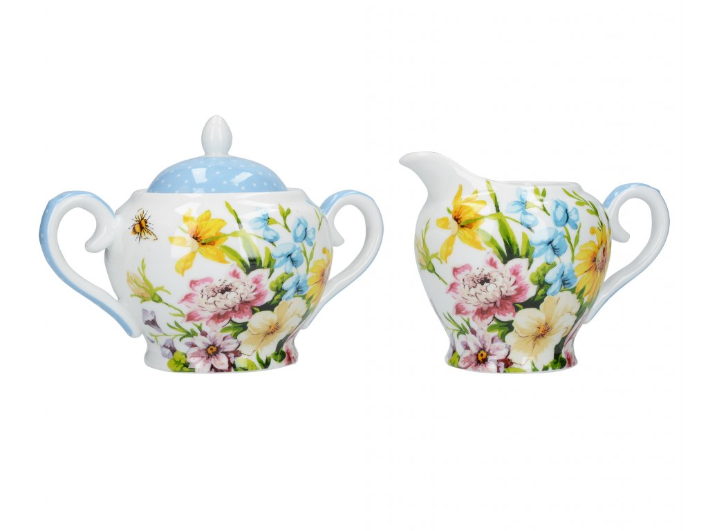 Creative Tops - Porcelánová cukřenka a mléčenka English Garden /21,3*9,5*10,3 cm/