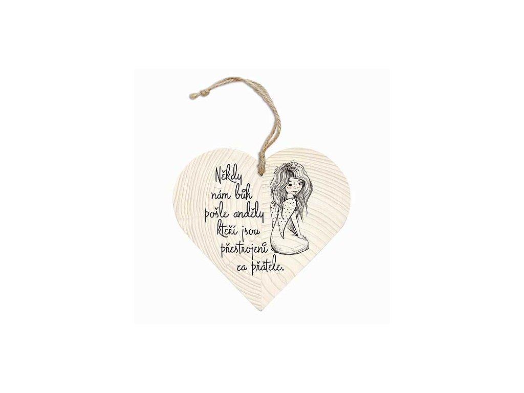 Bohemia Gifts Dekorační dřevěné srdce 12 cm – andělé a přátelé