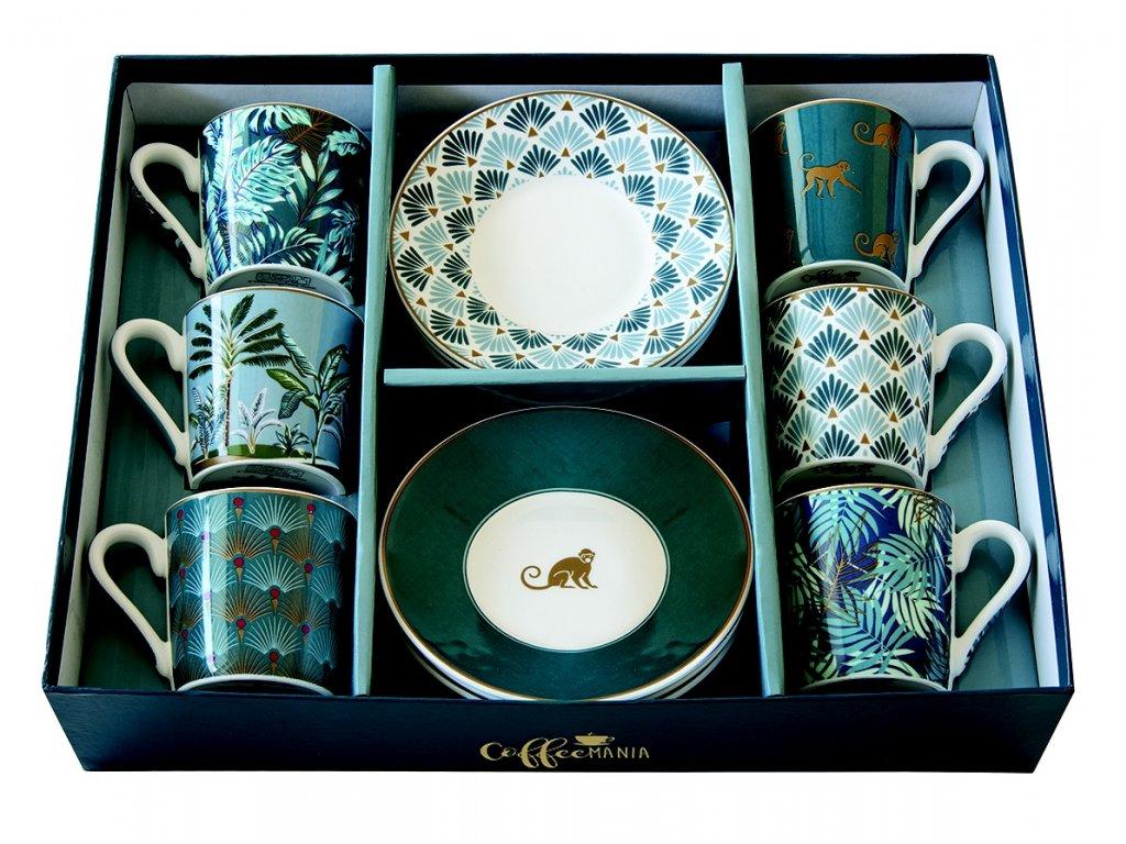 Easy Life - Porcelánové šálky a podšálky na kávu Jungle - 6*100 ml