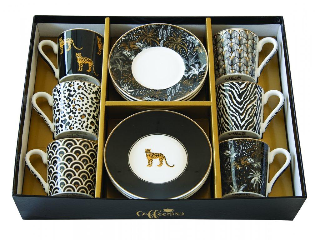Easy Life - Porcelánové šálky a podšálky na kávu Savana - 6*100 ml