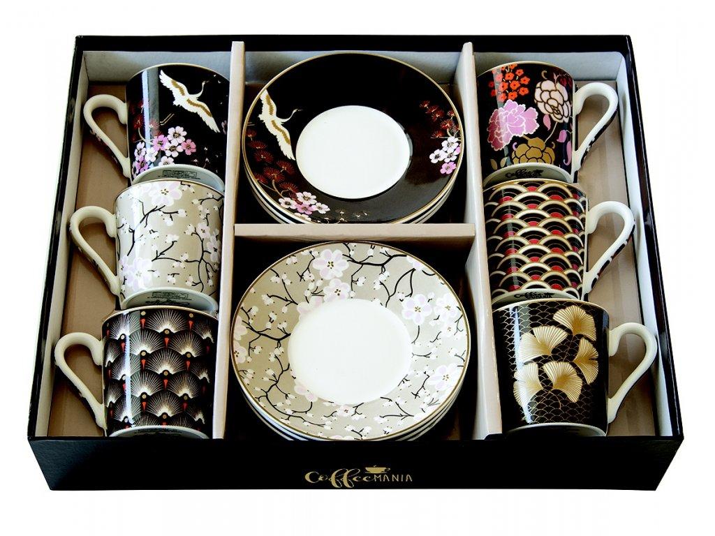 Easy Life - Porcelánové šálky a podšálky na kávu Oriental - 6*100 ml