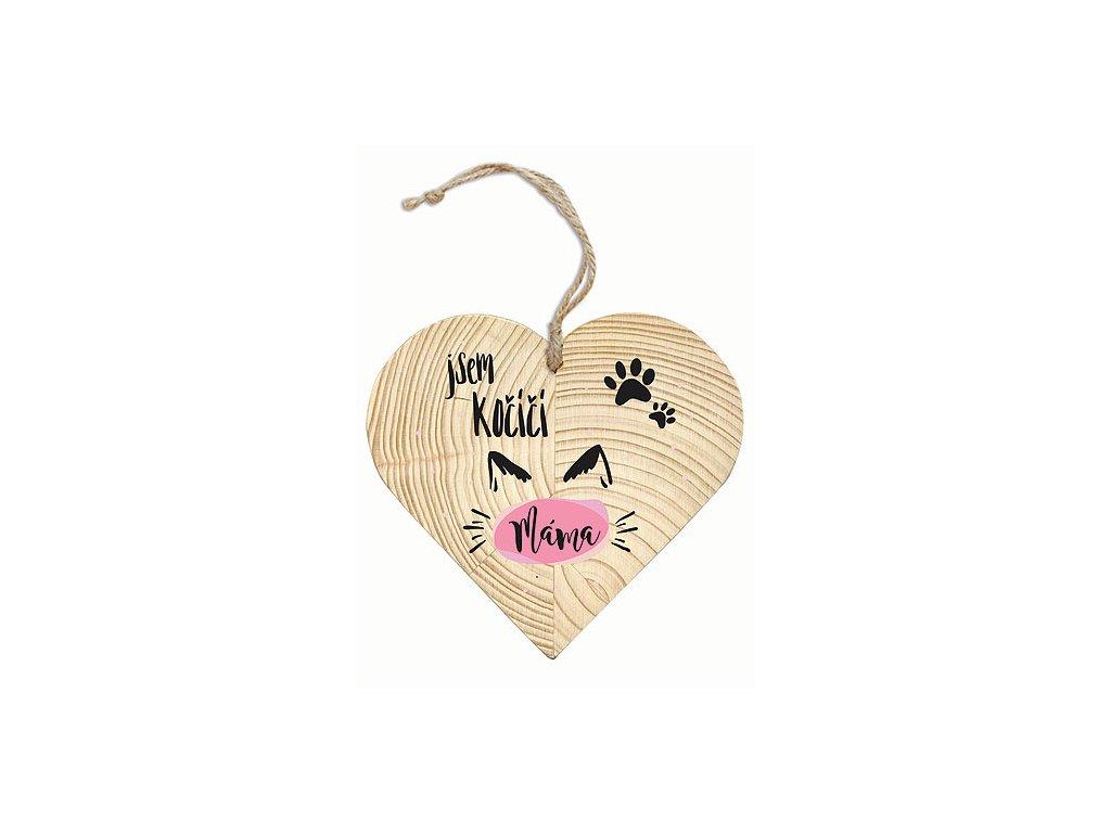 Bohemia Gifts Dekorační dřevěné srdce 12 cm – kočičí máma
