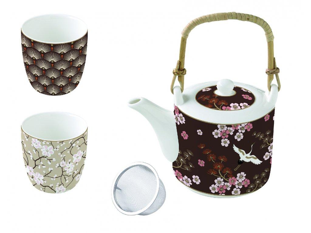 Easy Life - Porcelánové hrnky s čajovou konvičkou Oriental
