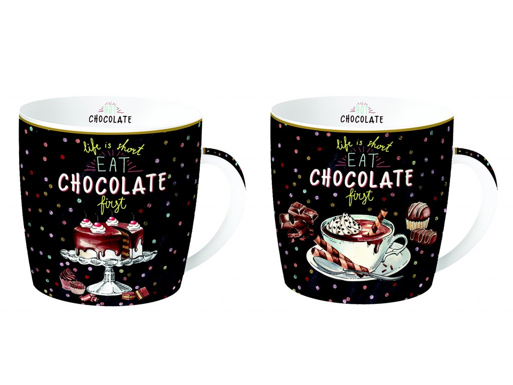 Easy Life - Sada porcelánových hrnků Hot Chocolate - 2*350 ml