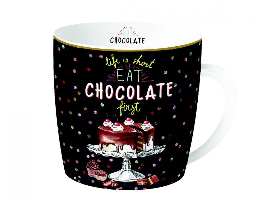 Porcelánový hrnek Hot Chocolate v plechové dóze