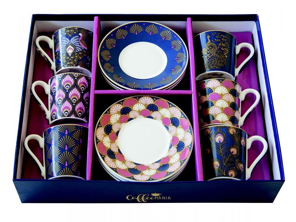 Easy Life - Porcelánové šálky a podšálky na kávu Peacock - 6*100 ml