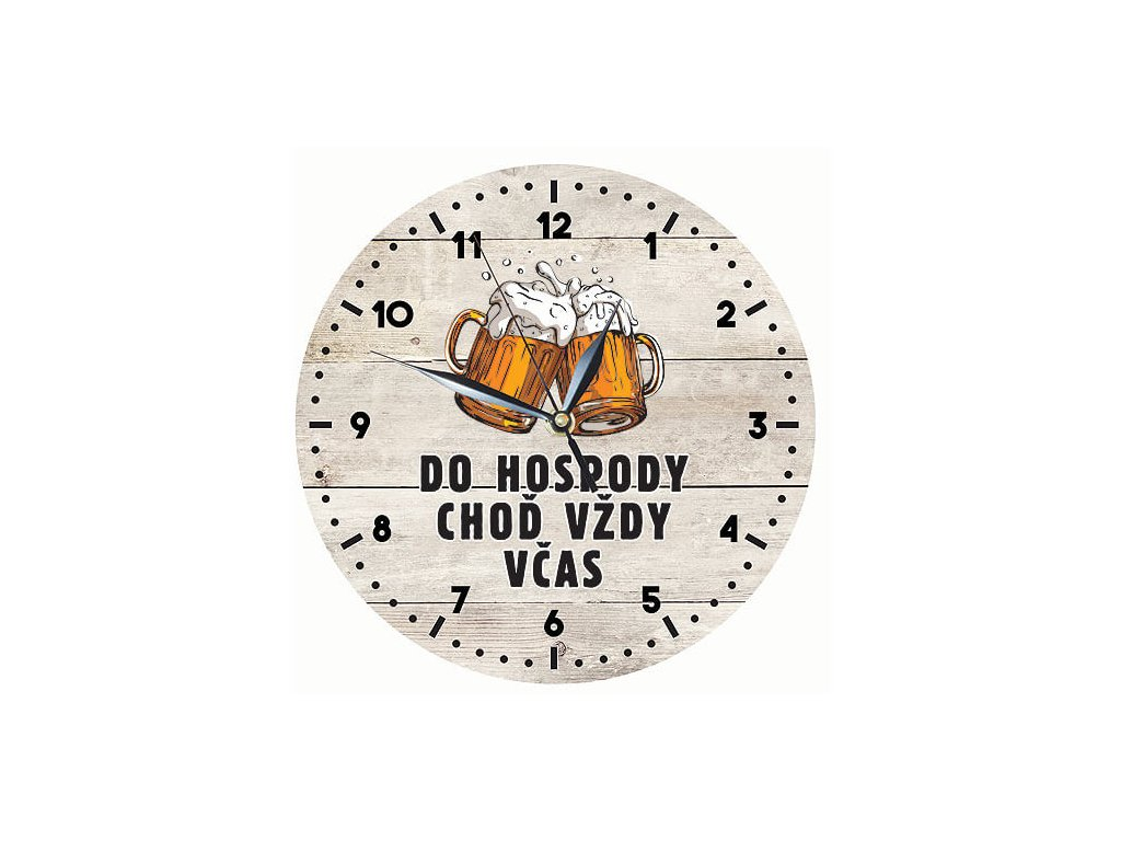 Bohemia Gifts Dřevěné hodiny 24 cm - do hospody včas