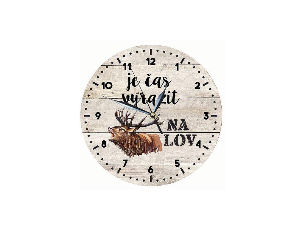 Bohemia Gifts Dřevěné hodiny 24 cm pro myslivce - čas na lov
