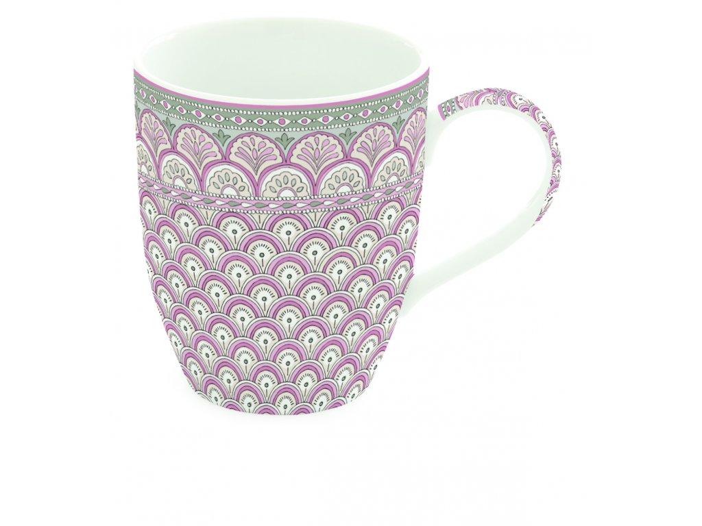 Easy Life - Porcelánový hrnek Kalamkari růžový - Objem hrnku je 350 ml.