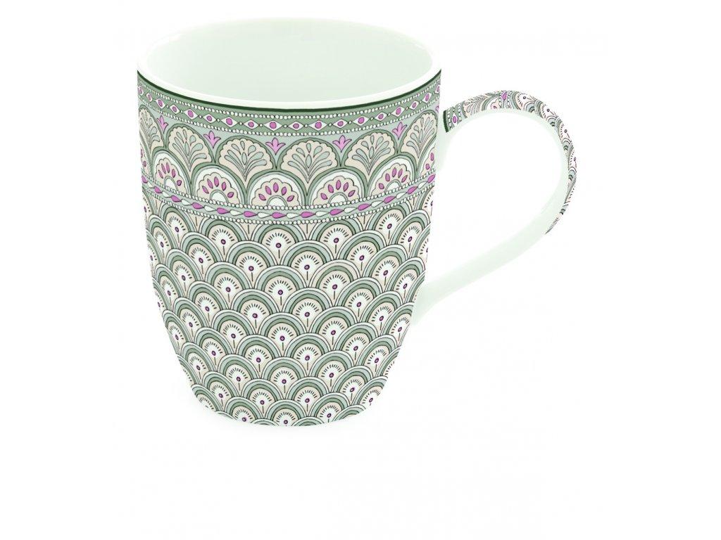 Easy Life - Porcelánový hrnek Kalamkari Sage zelený - Objem hrnku je 350 ml.