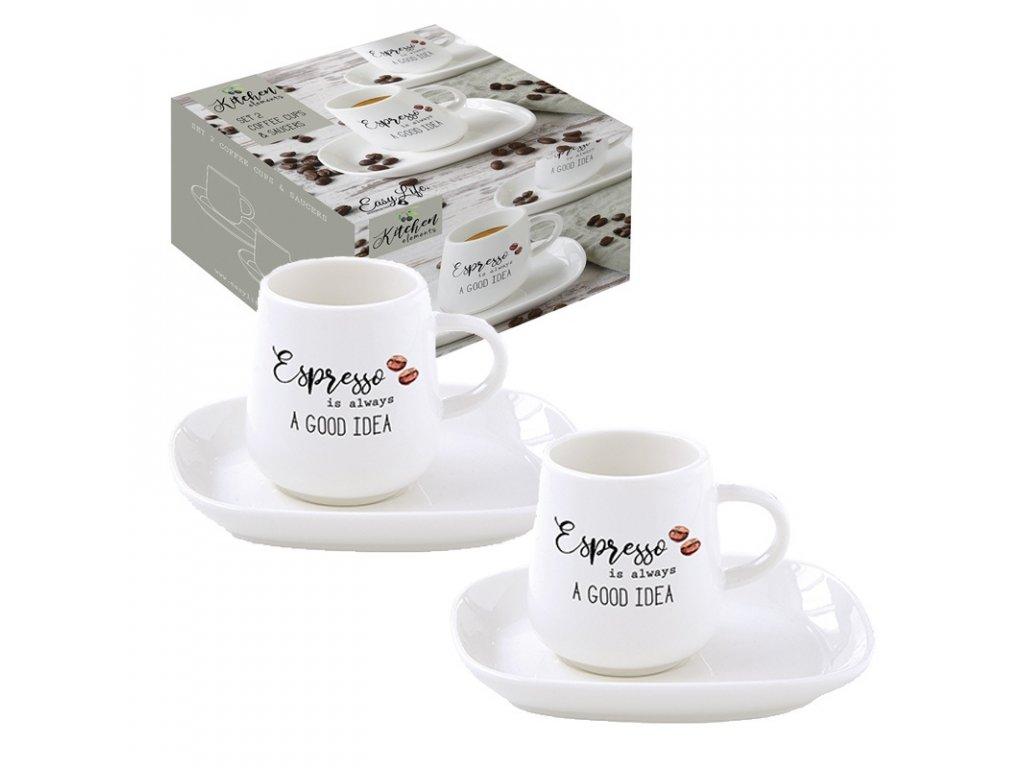 Easy Life - Porcelánový hrnek na espresso Kitchen Elements - 2*100 ml