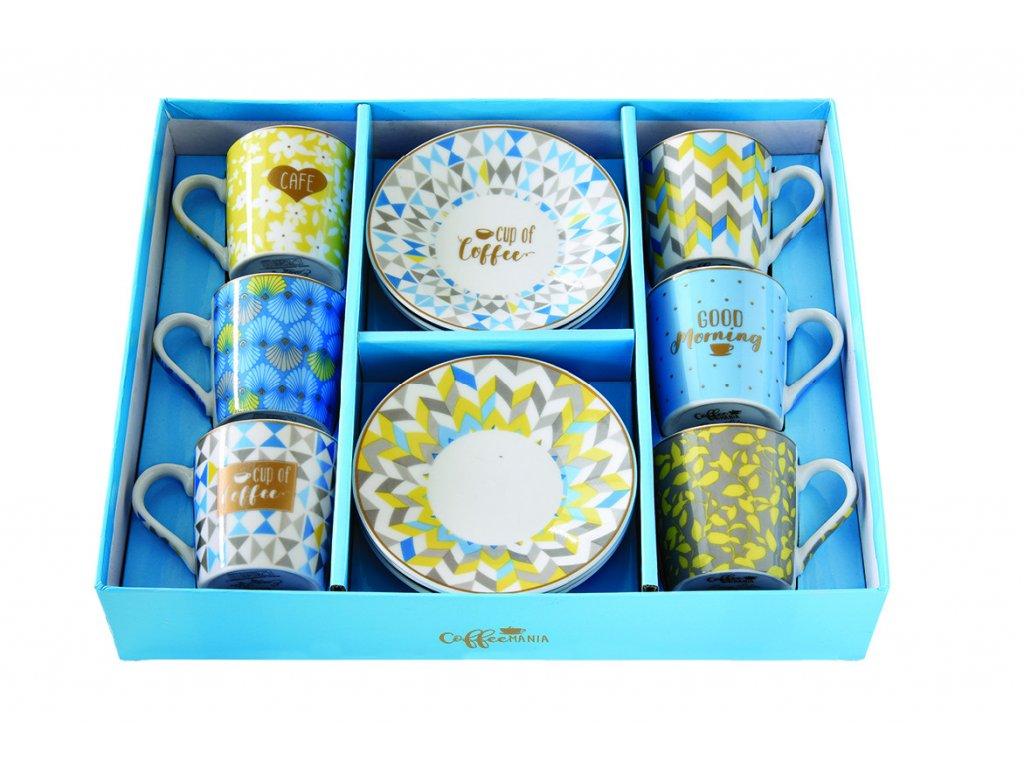 Easy Life - Porcelánové šálky a podšálky na kávu Cup of Coffee - 6*100 ml