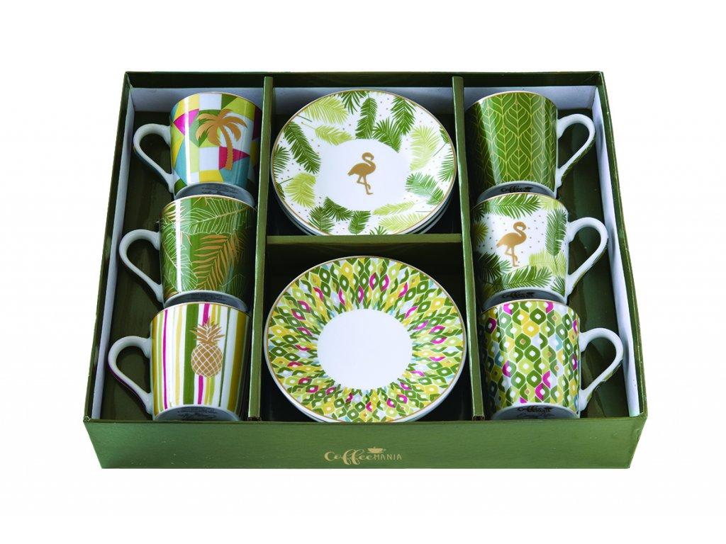 Easy Life - Porcelánové šálky a podšálky na kávu Tropical - 6*100 ml