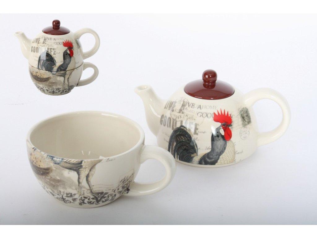 Souprava na kávu i čaj - Konvička s hrnečkem - /15*12*14 cm/ - kohout