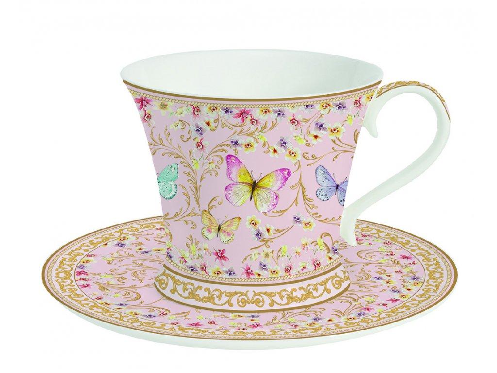 Easy Life - Porcelánový šálek a podšálek na čaj Majestic Butterflies - 300 ml