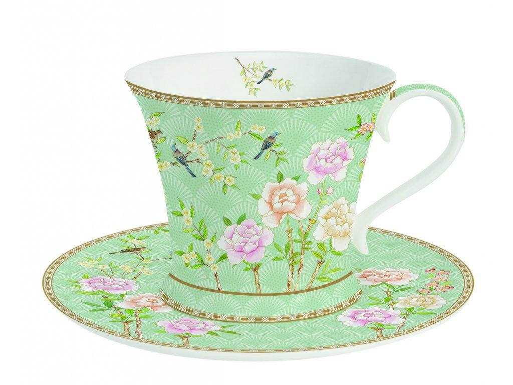 Easy Life - Porcelánový šálek a podšálek na kávu Palace Garden Aqua - Objem hrnku je 180 ml