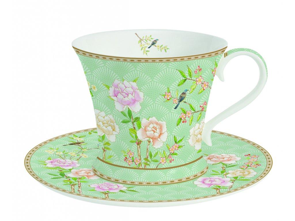 Easy Life - Porcelánový šálek a podšálek na čaj Palace Garden Aqua - 300 ml