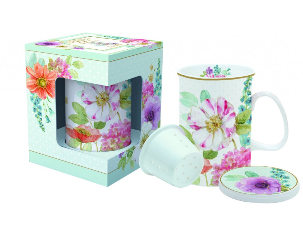 Easy Life - Porcelánový hrnek se sítkem na čaj Cottage Flower - 300 ml
