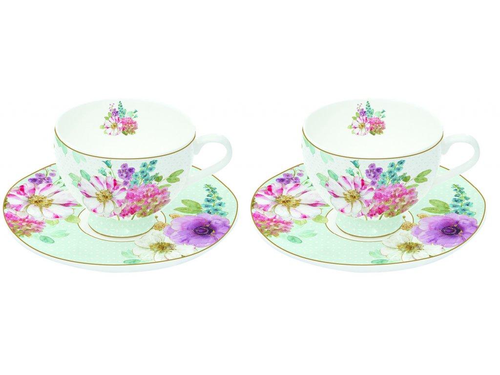 Easy Life - Porcelánové šálky a podšálky na espresso Cottage Flower - 2*75 ml
