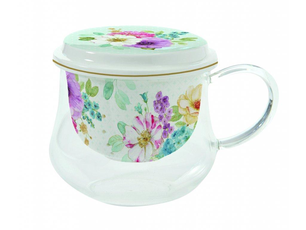 Skleněný hrnek s porcelánovým sítkem Cottage Flower - 275 ml