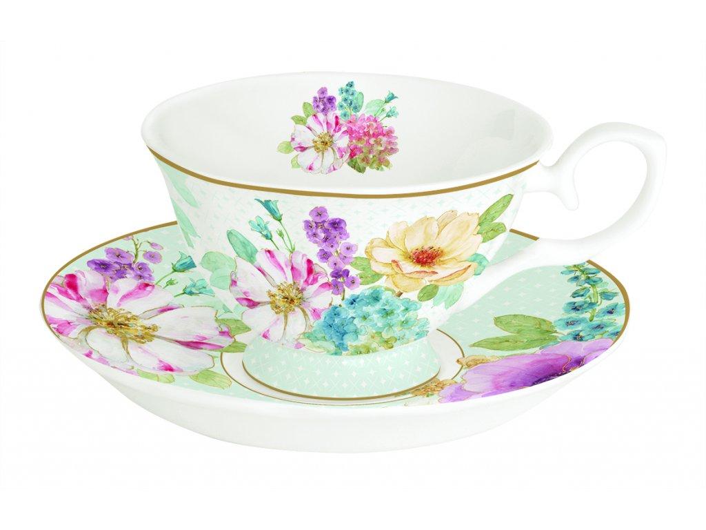Easy Life - Porcelánový šálek a podšálek Cottage Flower - 200 ml