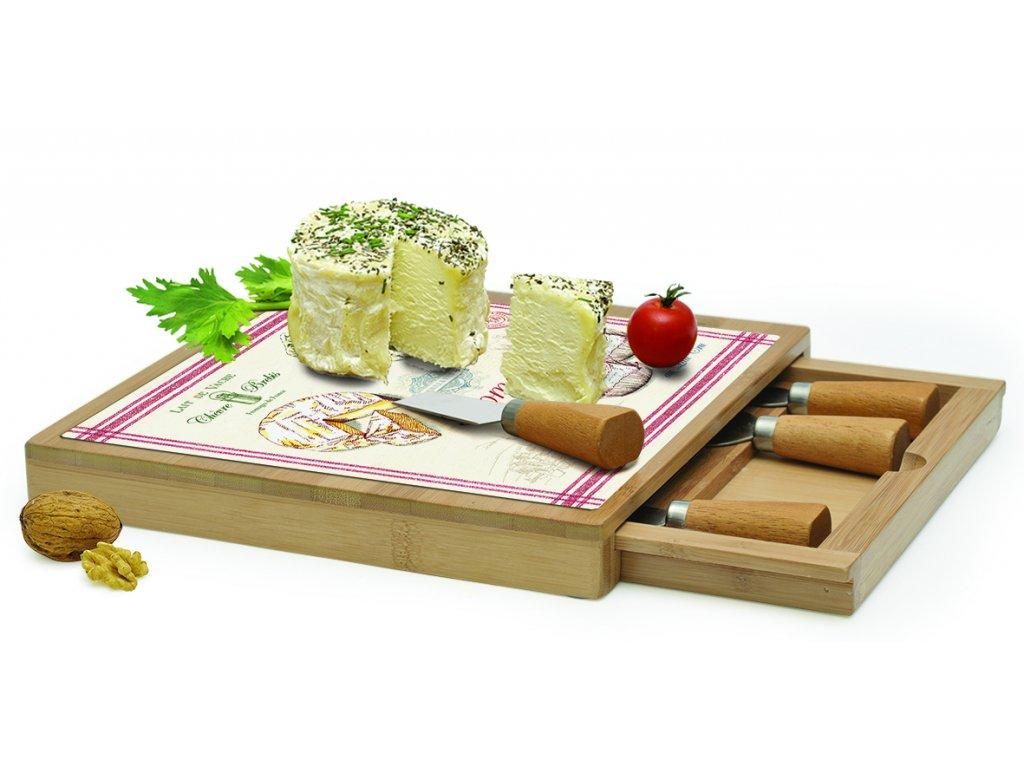 Easy Life - Skleněné prkénko v bambusovém rámu s noži na sýry Fromage /25,5*25,5 cm/