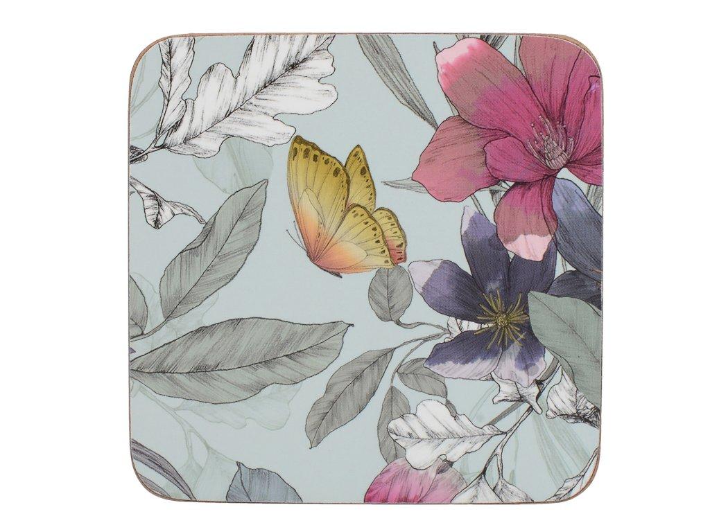 Korkové podložky pod skleničky Butterfly Floral