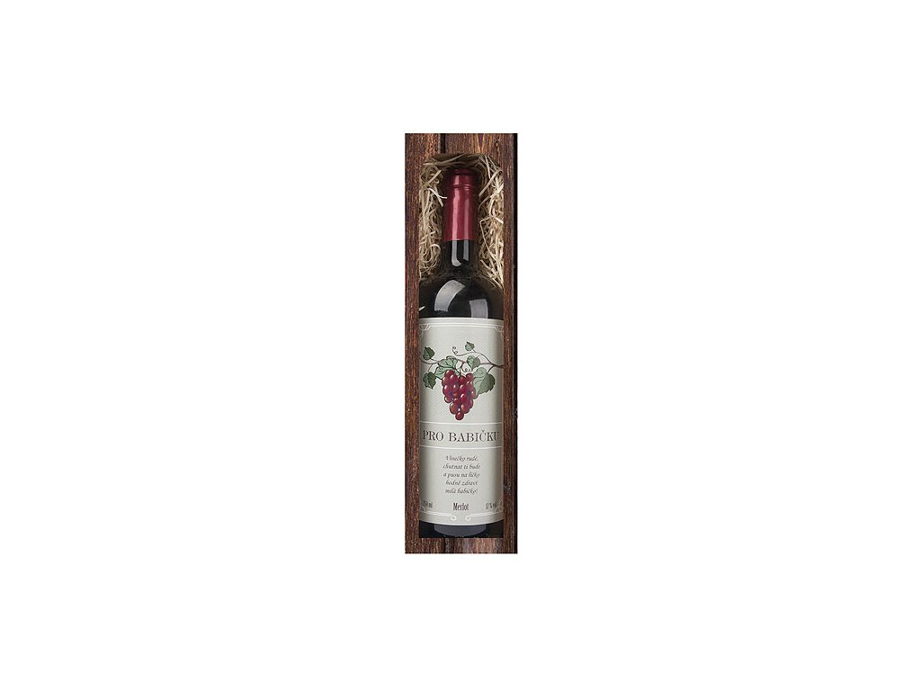 Bohemia Gifts Dárkové červené víno 0,75 l pro babičku - Merlot
