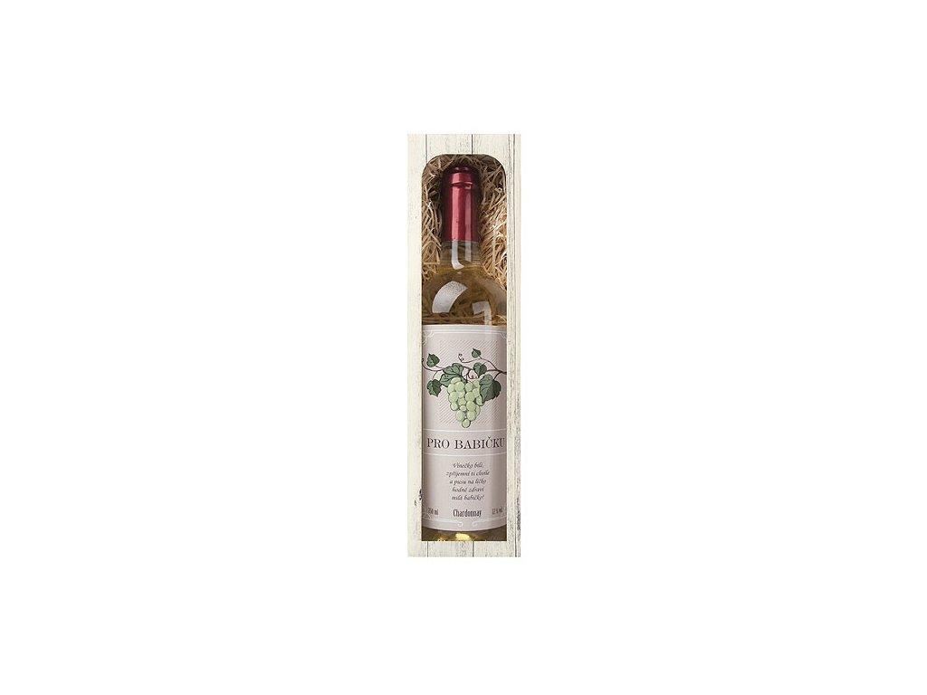 Bohemia Gifts Dárkové bílé víno 0,75 l pro babičku - Chardonnay