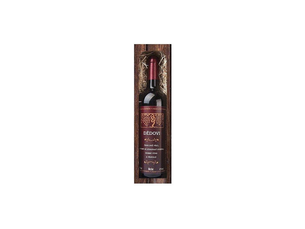 Bohemia Gifts Dárkové červené víno 0,75 l pro dědečka - Merlot