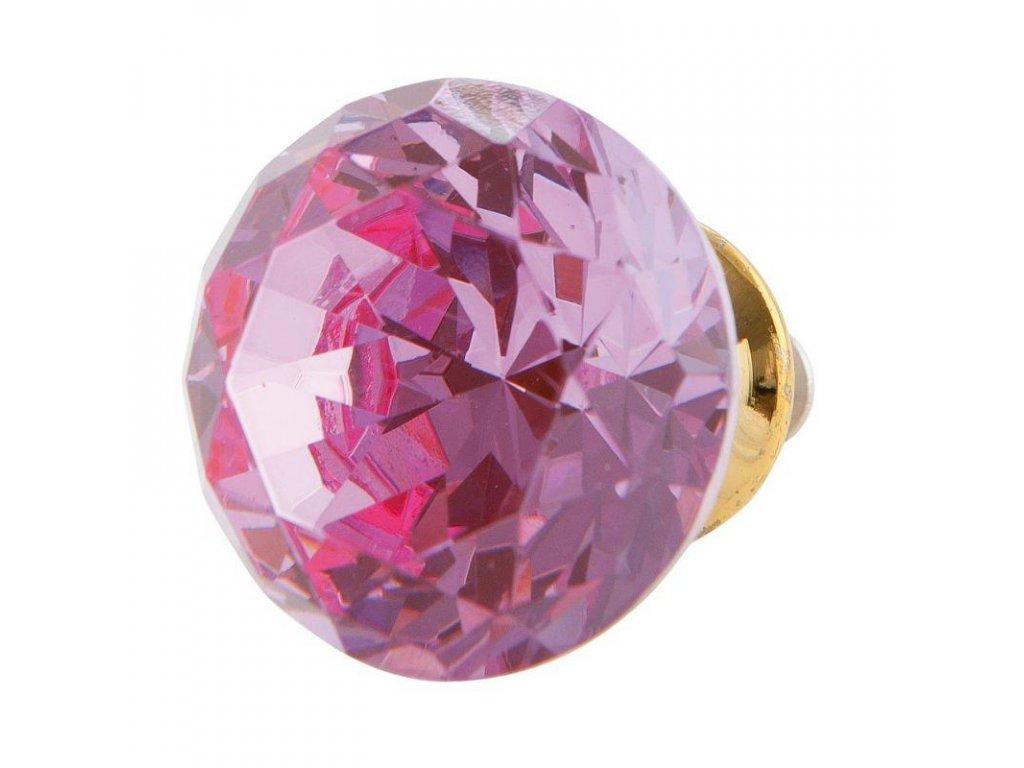 "Clayre & Eef - Keramická nábytková úchytka ,,Růžový broušený kámen"" - Ø 3 cm"